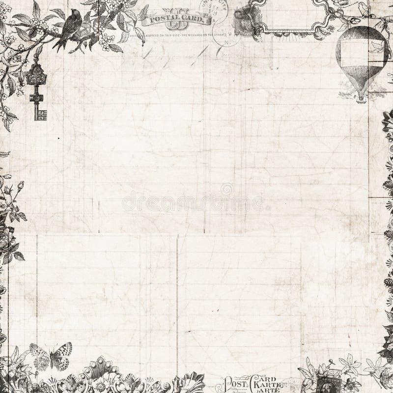 Steampunk葡萄酒花卉剪贴薄框架 向量例证