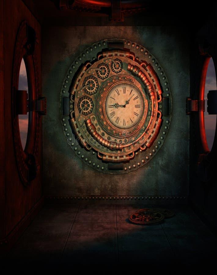 Steampunk钟表机构 库存例证