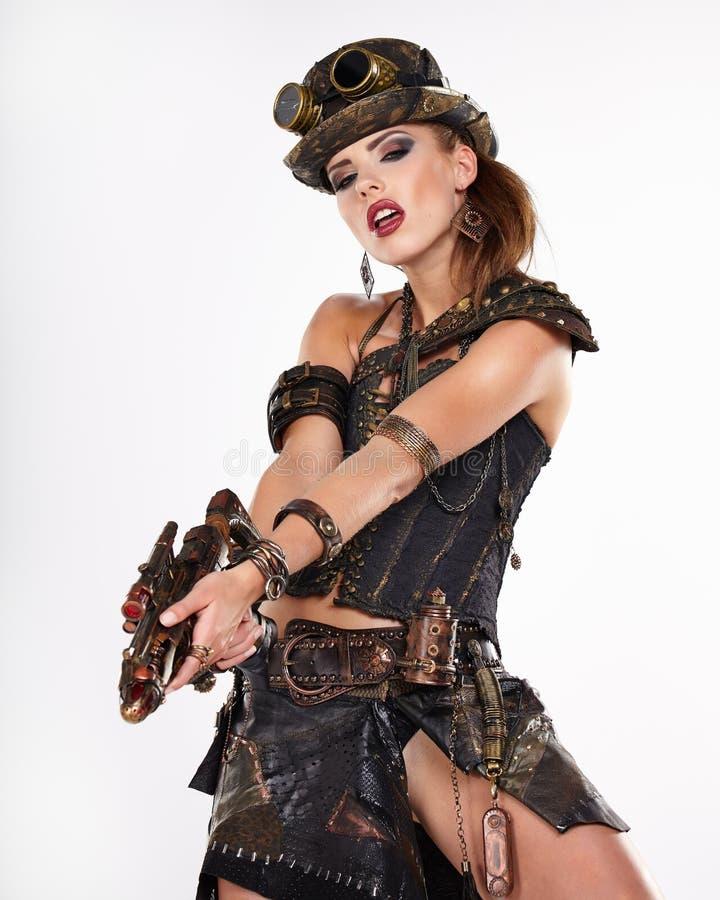 Steampunk隔绝了妇女 免版税库存图片