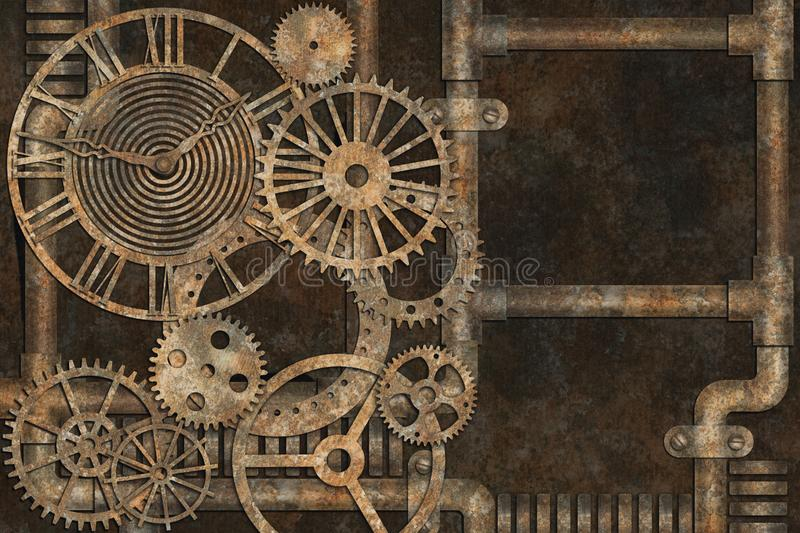 Steampunk难看的东西背景,在生锈的背景的元素 皇族释放例证