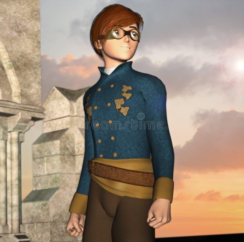 Steampunk воодушевило молодость с готическими руинами иллюстрация вектора