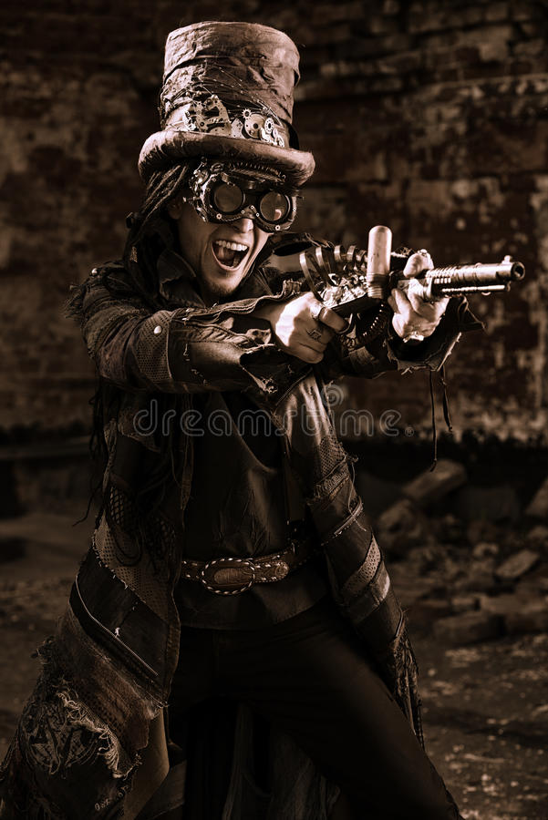 Steampunk стрельбы стоковые фотографии rf