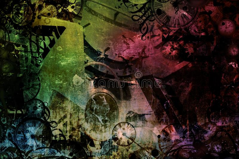 Steampunk abstract colorful industrial machines background stock illustration