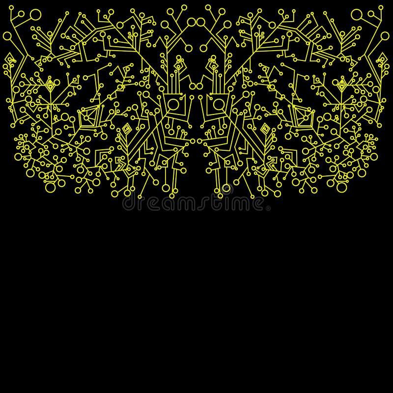 Steampunk, abstracte, gele overzichtsfractal achtergrond vector illustratie
