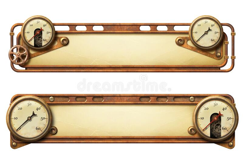 Steampunk aged metal banners with copper pipes and steam gauges. Beautiful decorated steampunk aged metal banners with steam gauges and copper pipes - original vector illustration