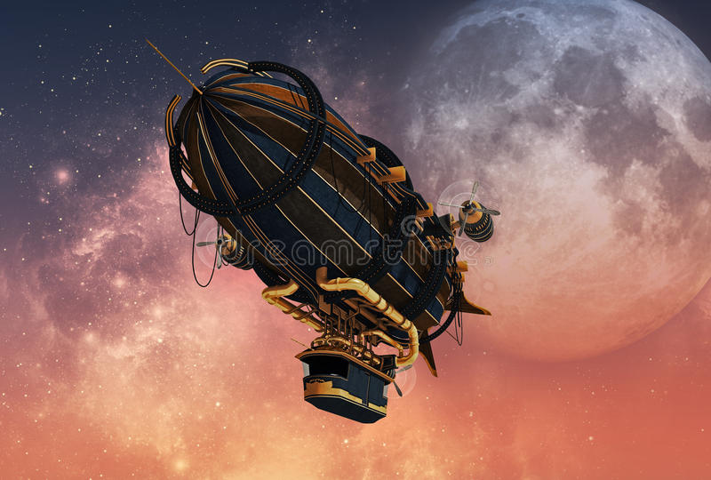 Steampunk Airship, 3d CG royalty free illustration