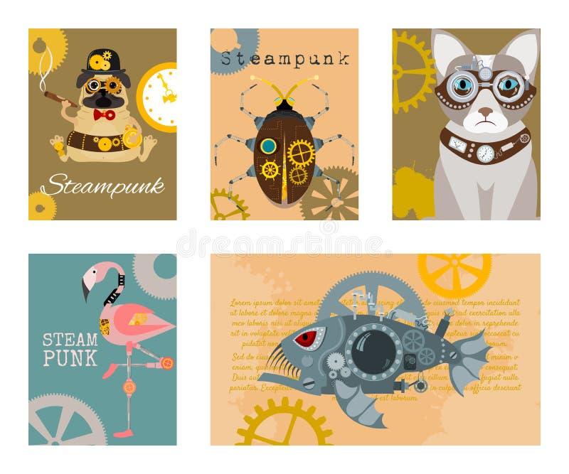 Steampunk animal set of cards vector illustrations. Fantastic cartoon dog, cat, metal fish, flamingo pink in style of vector illustration