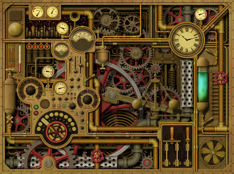 Steampunk Background. A Steampunk Background with Clocks, Dials, Gears and Cogs, Pipes and Switches royalty free illustration