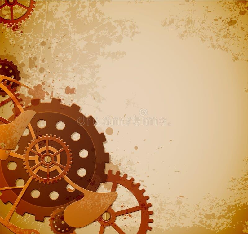 Steampunk bakgrund med kugghjul vektor illustrationer