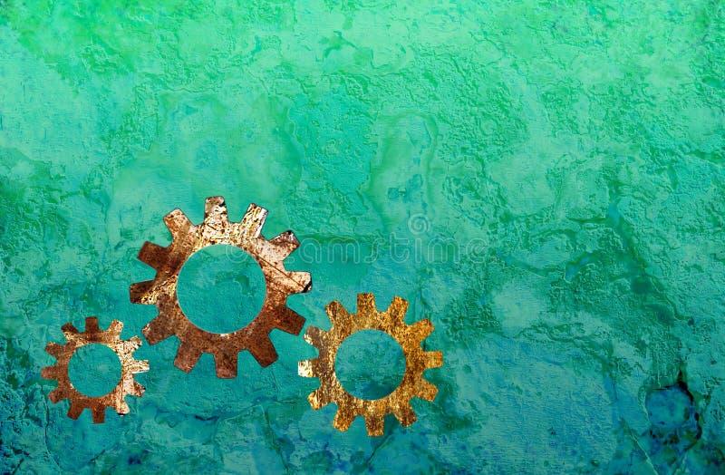 Steampunk bakgrund med kugghjulsymboler arkivbilder
