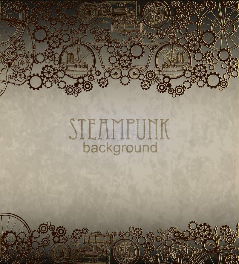 Steampunk bakgrund Viktoriansk era steampunkstil vektor illustrationer