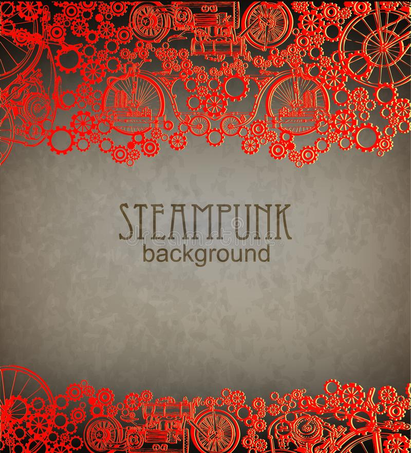 Steampunk bakgrund Viktoriansk era steampunkstil royaltyfri illustrationer