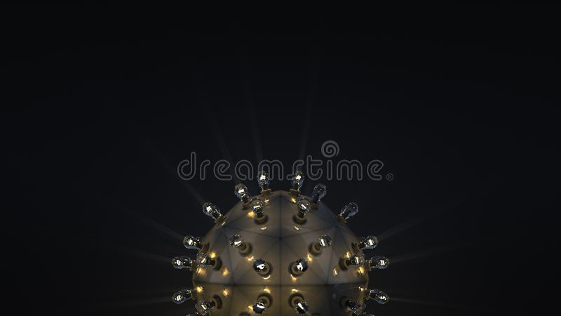 Steampunk ball with light bulbs 3D rendering royalty free illustration