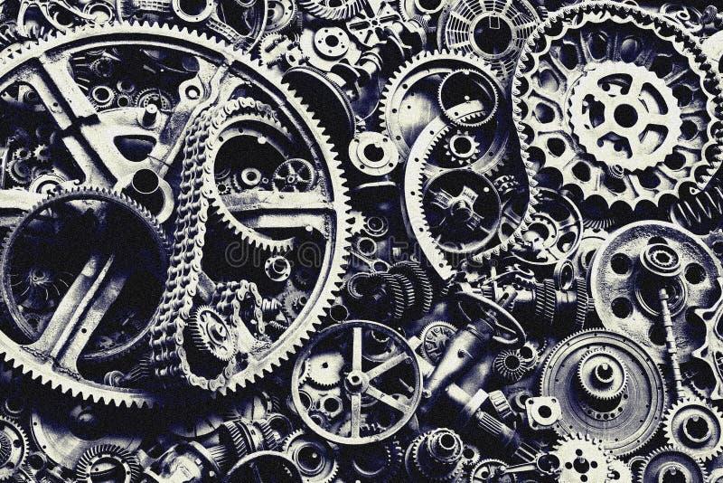 Steampunk-Beschaffenheit, backgroung mit mechanischen Teilen, Gangräder stockfotos