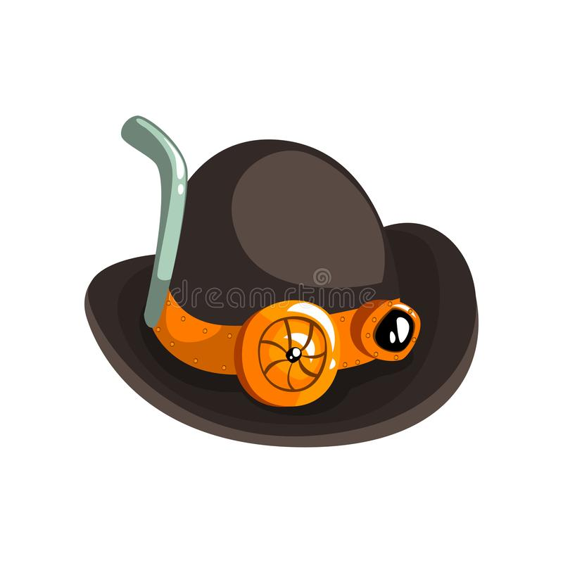 Steampunk black retro hat, antique mechanical device or mechanism vector Illustration on a white background vector illustration