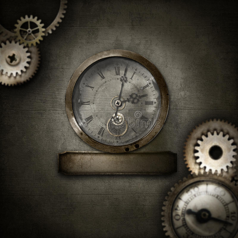 Steampunk border with clock in glass dome stock photo