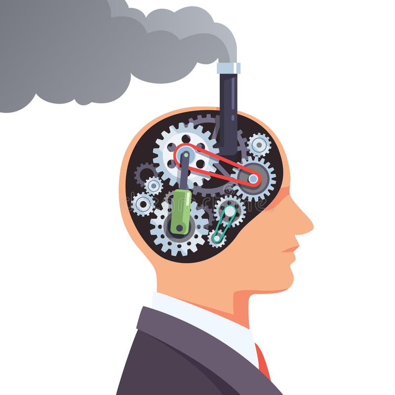 Steampunk brain engine with cogs and gears royalty free illustration