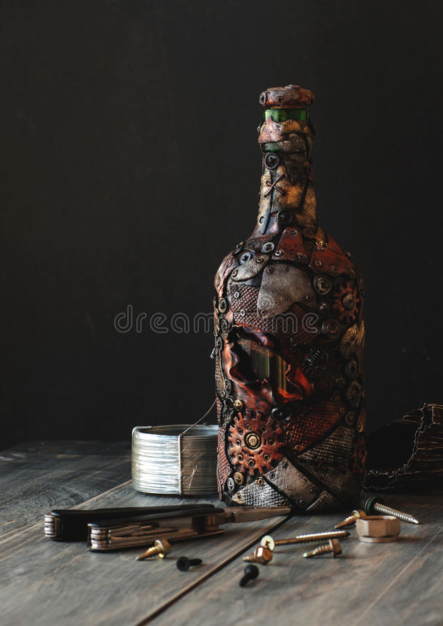Steampunk butelka zdjęcia royalty free