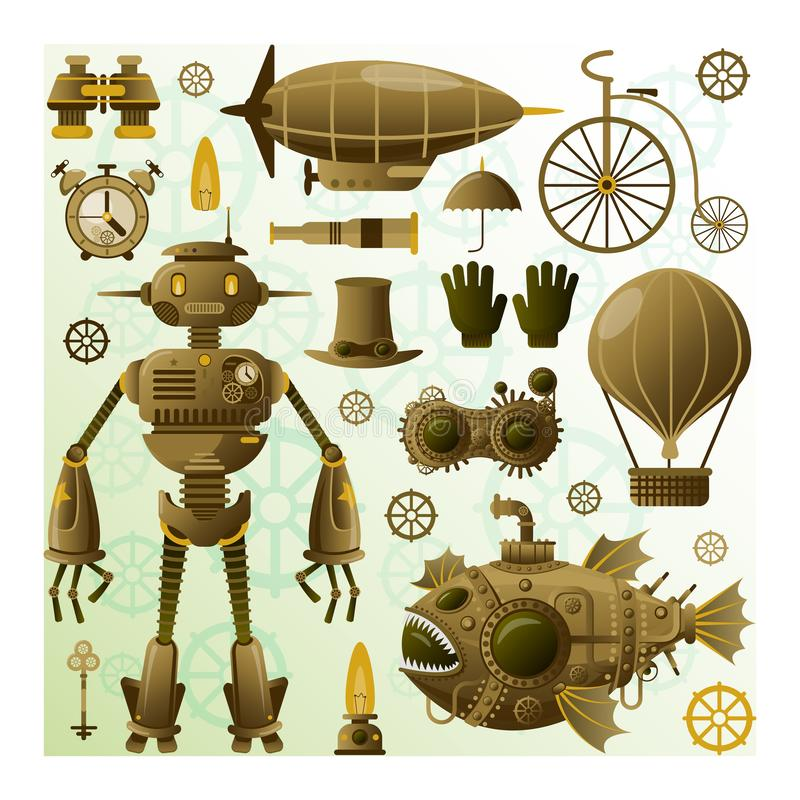 Steampunk character and elements. Vector icons.Steampunk robot.Vintage character.Steampunk submarine.Vintage cyborg stock illustration