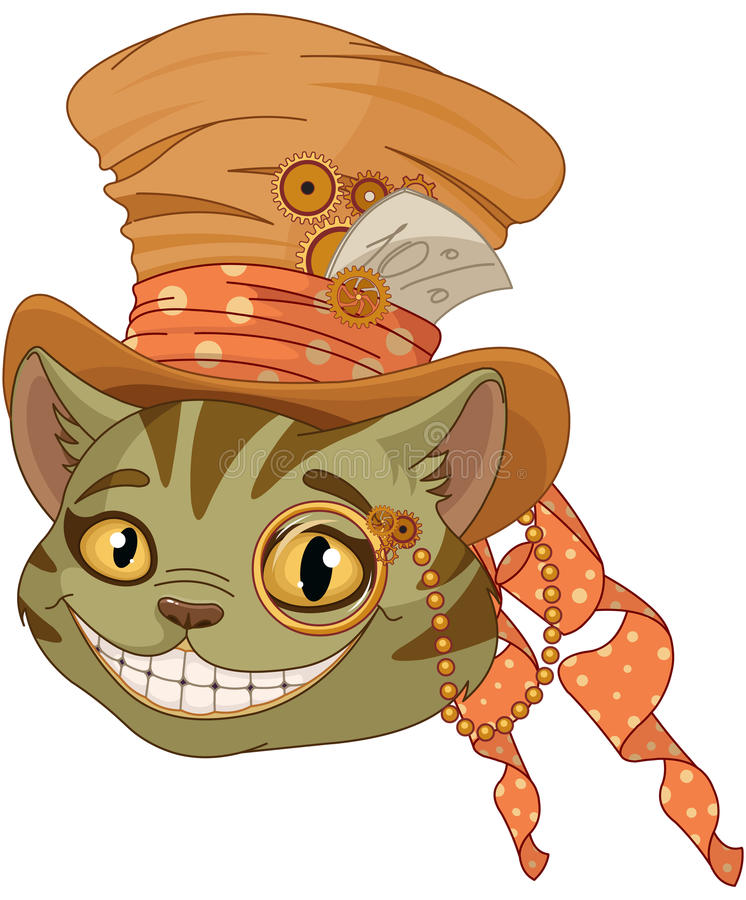 Steampunk Cheshire cat in Top Hat. Cheshire cat in Top Hat and monocle in steampunk stile royalty free illustration