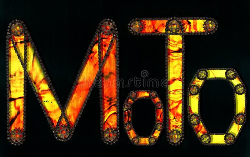 Steampunk chrzcielnica Moto inskrypcja od elementów, opon i odbłyśników łańcuszkowej przekładni, royalty ilustracja