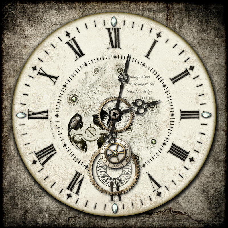 Steampunk clock. Face with gems , gears , cogs etc, on a grunge cement background