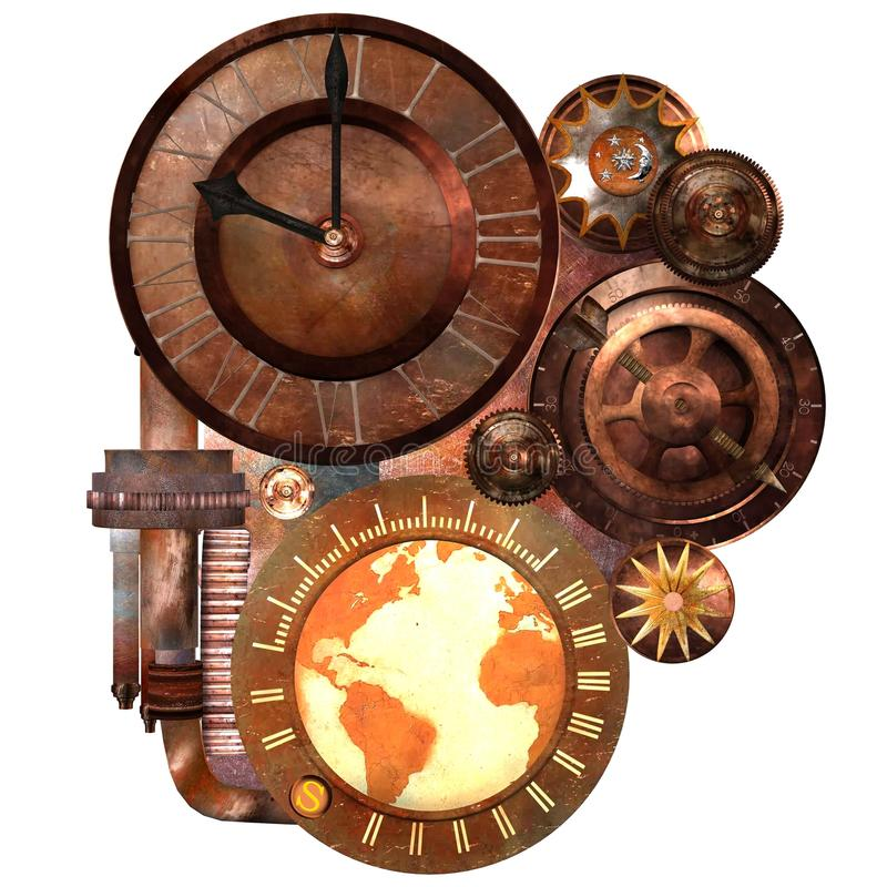 Steampunk Clock and Gears royalty free illustration