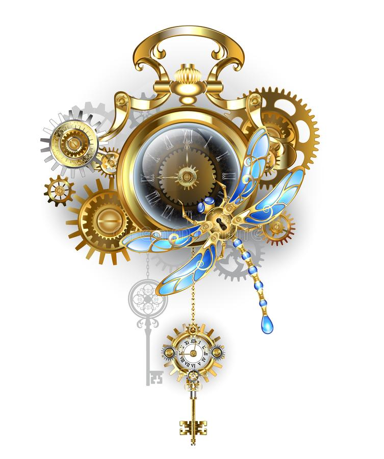 Steampunk clock with mechanical dragonfly vector illustration