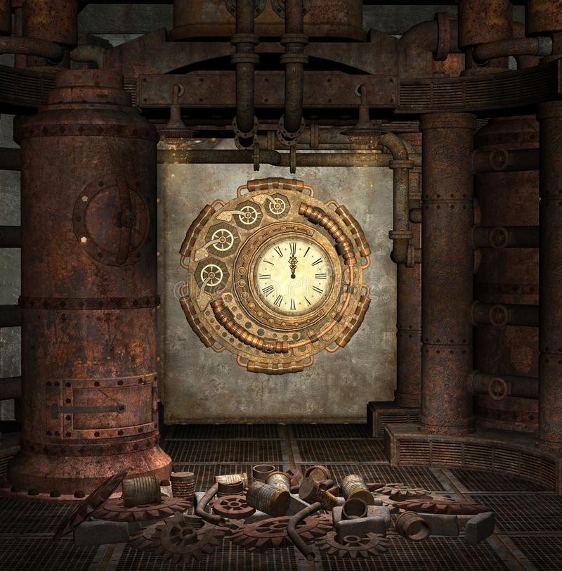 Steampunk clock old room with gears, cogs and rusty pipes. Steampunk clock mysterious room with cog wheels on the floor - 3D illustration vector illustration
