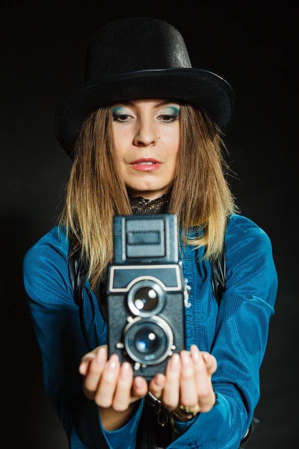 Steampunk com a câmera retro velha imagem de stock royalty free