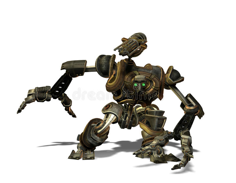 Steampunk combat robots from the future. 3D Rendering Steampunk combat robots from the future vector illustration