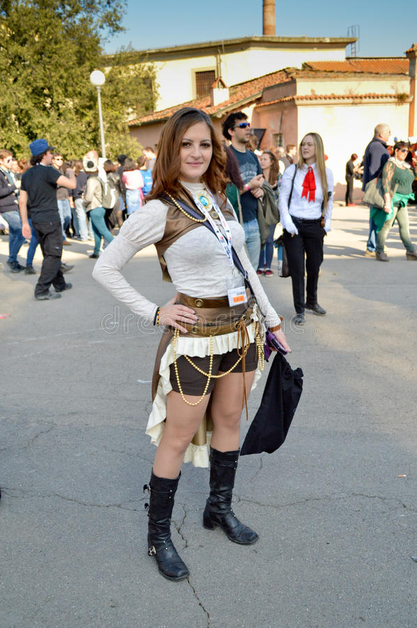 Steampunk cosplayer at Lucca Comics and Games 2014 stock images