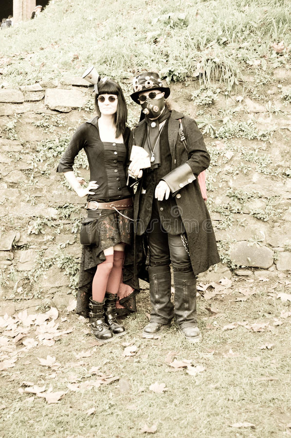 Steampunk couple at Lucca Comics and Games 2014 royalty free stock image