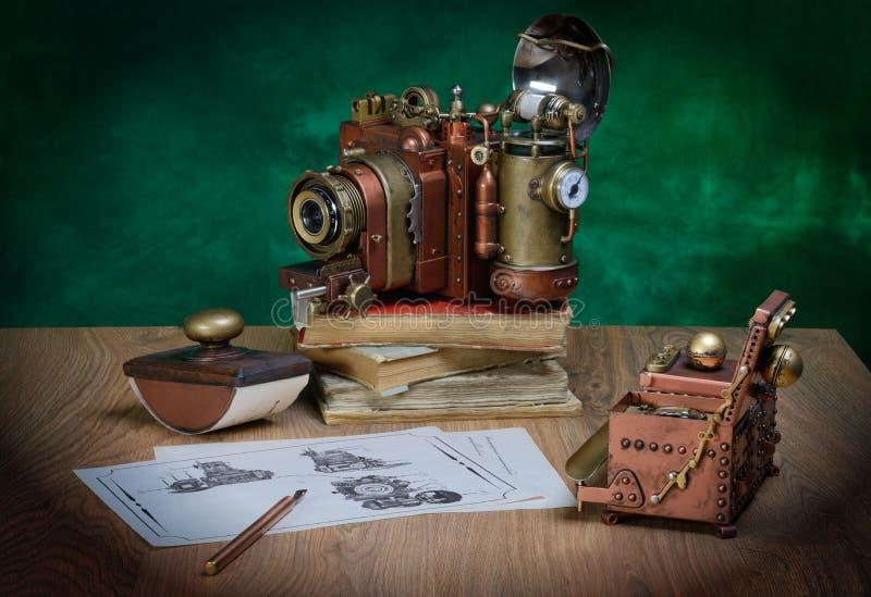 Steampunk d'appareil-photo photographie stock libre de droits