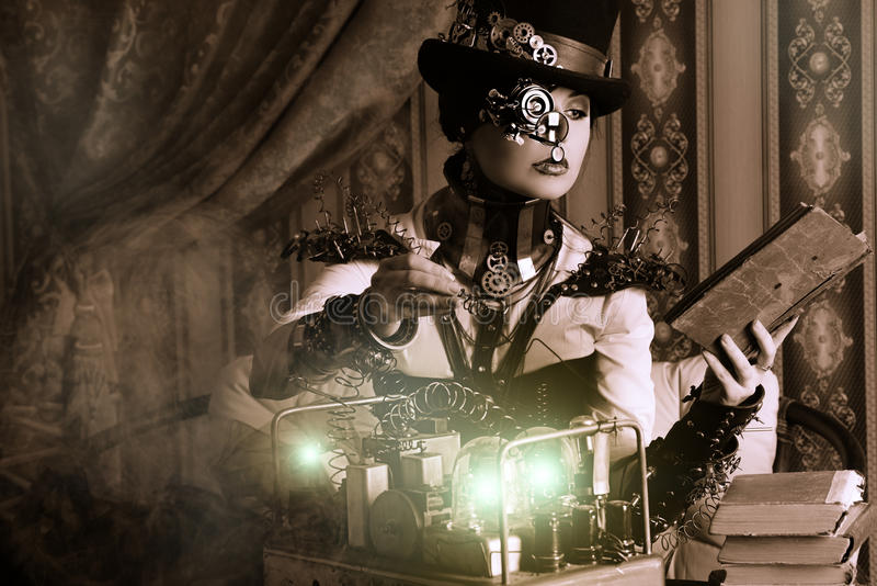 Steampunk da mulher fotos de stock