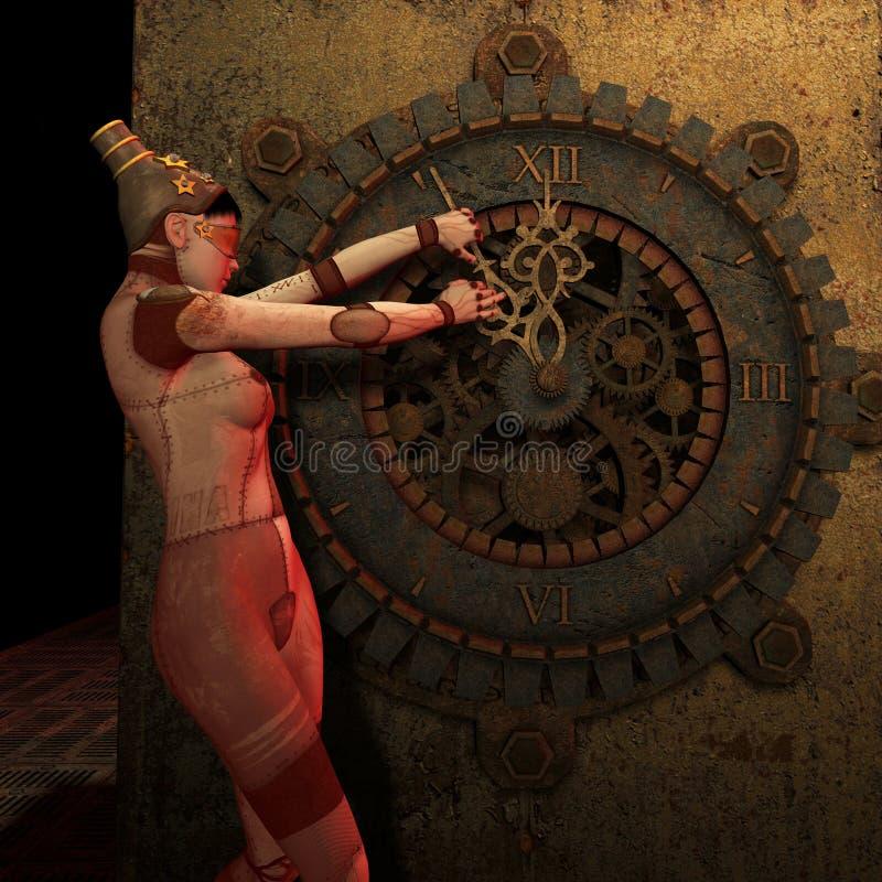 Steampunk da vuelta detrás a tiempo stock de ilustración