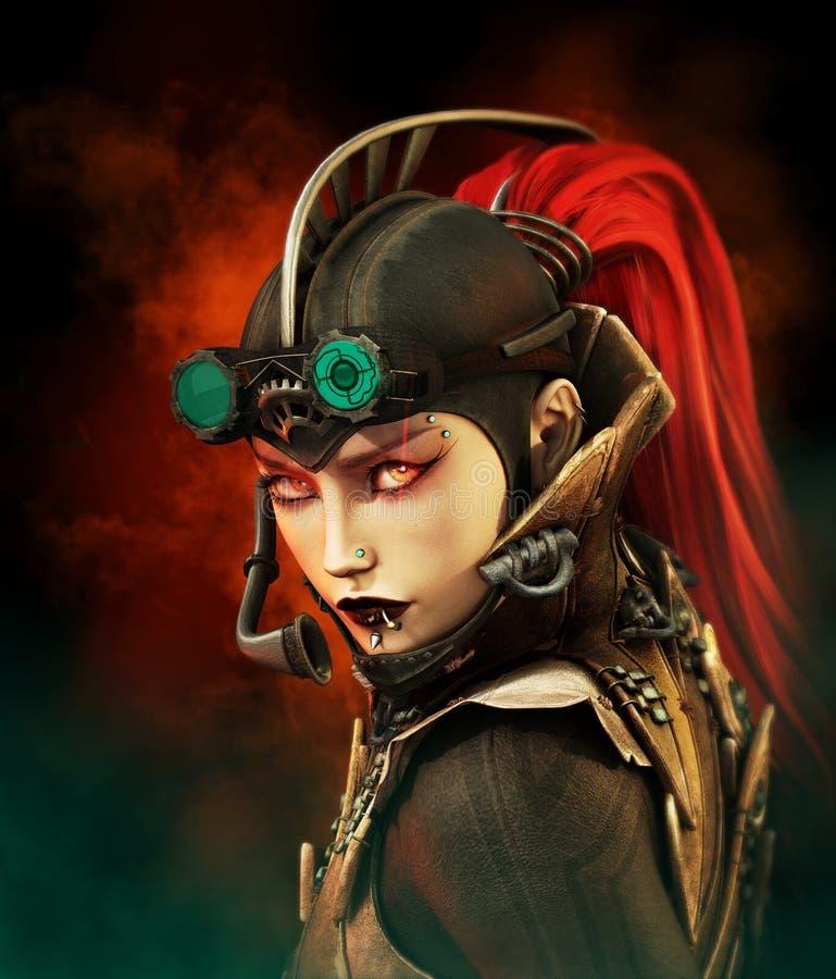 Steampunk dama royalty ilustracja