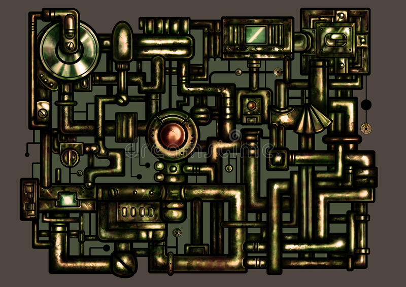Steampunk decorative interface. Illustration fantasy composition in rusty style consist of pipes and industrial mechanism vector illustration