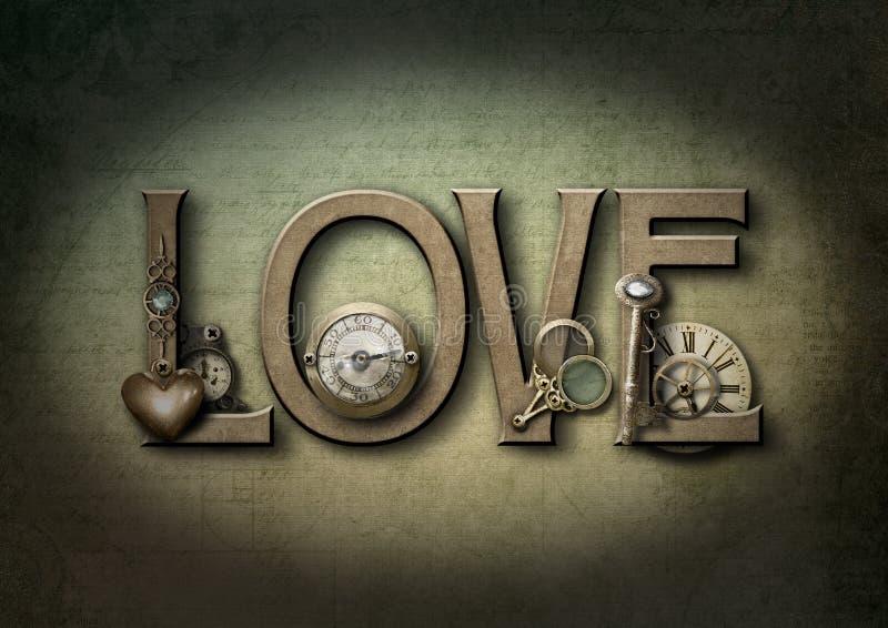 Steampunk del amor ilustración del vector