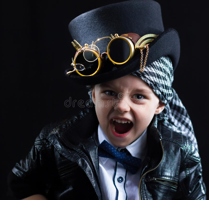 Steampunk del primo piano del bambino fotografie stock