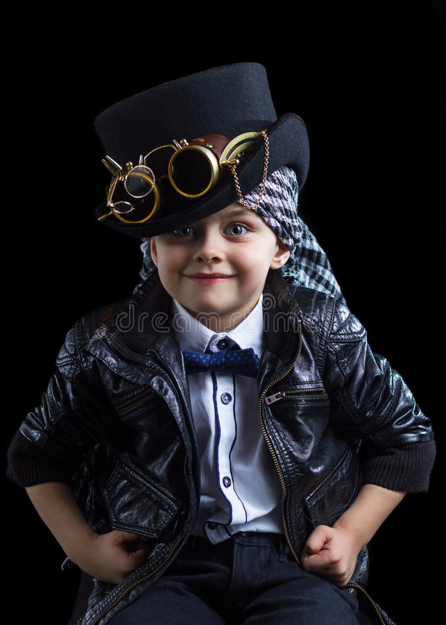 Steampunk del primo piano del bambino immagini stock libere da diritti