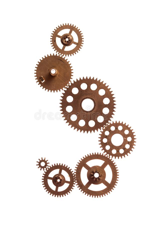 The Steampunk device. Steampunk details isolated on white. Mechanical clocks details, gears as a fantasy device royalty free stock photos