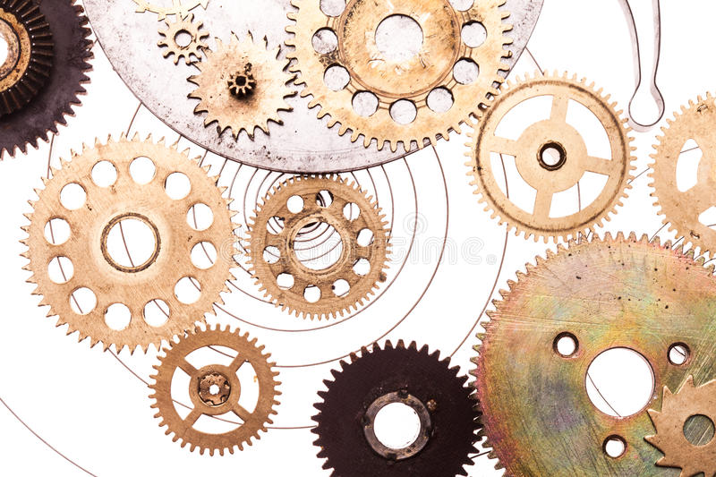 Steampunk device. Steampunk details isolated on white. Mechanical clocks details, gears as a fantasy device or background stock photos