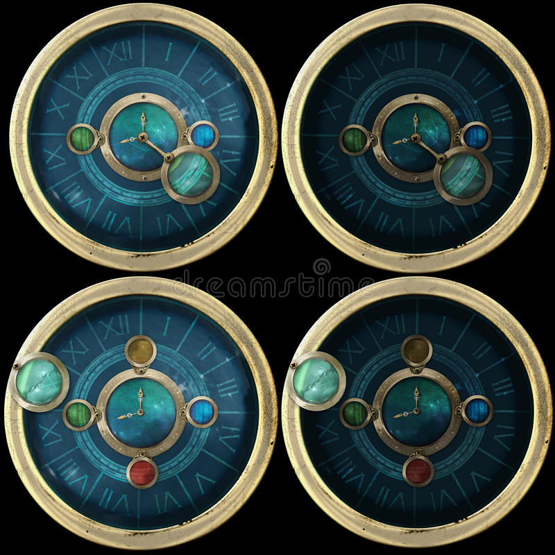 Steampunk device variations. Four variations of strange steampunk device vector illustration