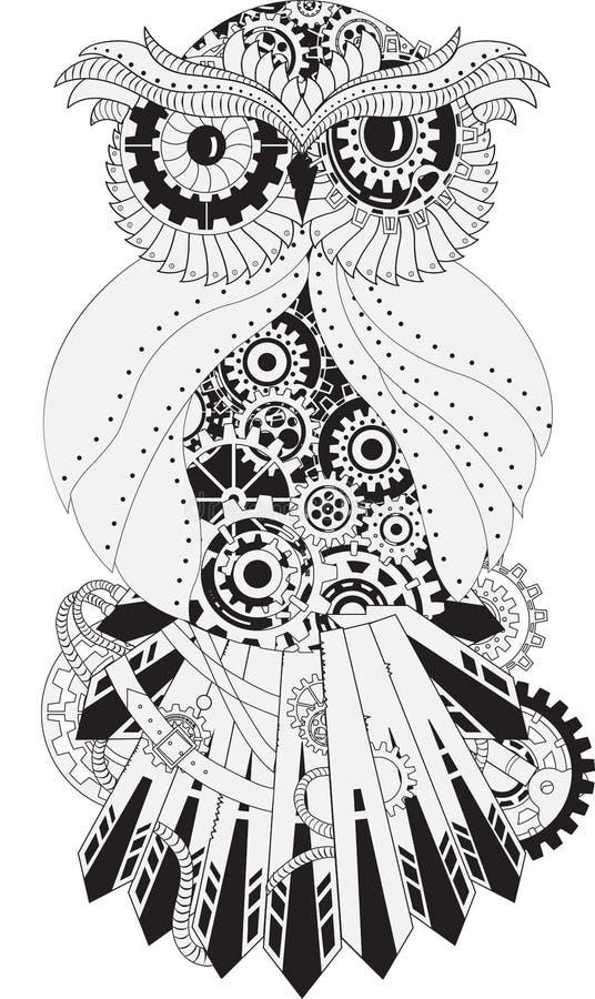 Steampunk-Entwurfs-Vektoreule mit Gang metallisch stock abbildung