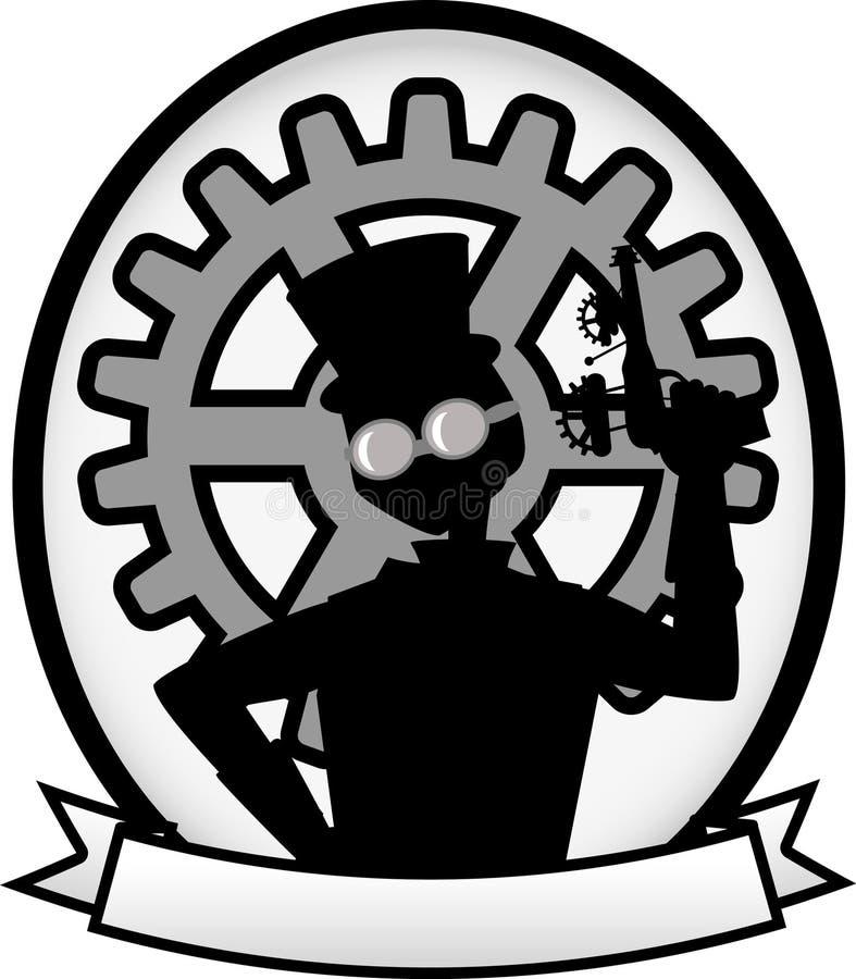 steampunk för silhouette för grå man för emblembaner oval stock illustrationer