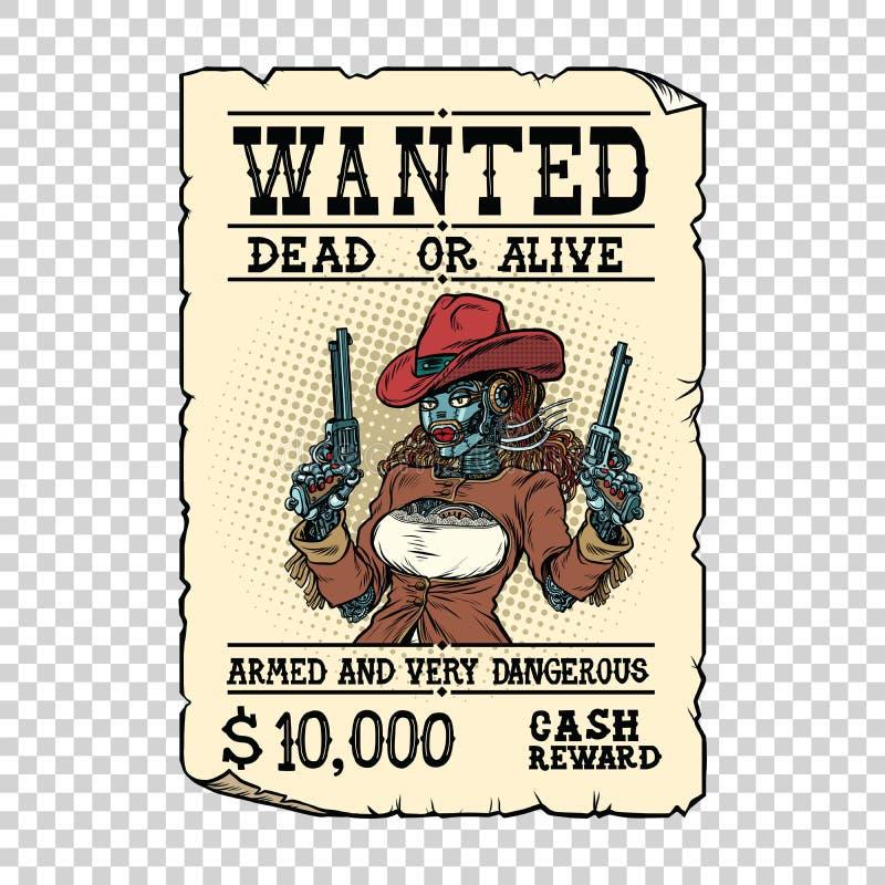 Steampunk female robot bandit, wild West Western style vector illustration