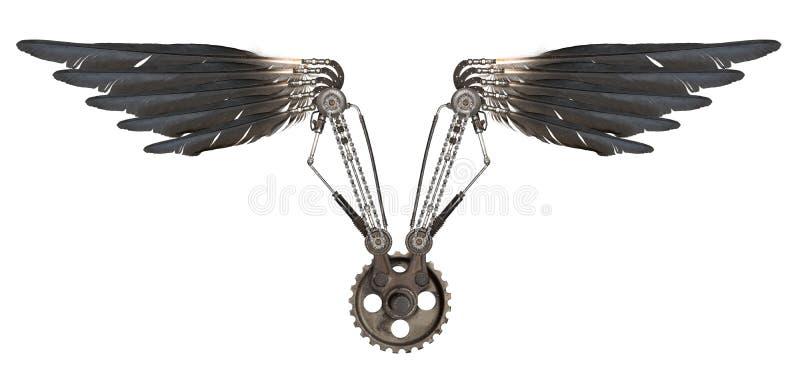 Steampunk-Flügel lokalisiert stock abbildung