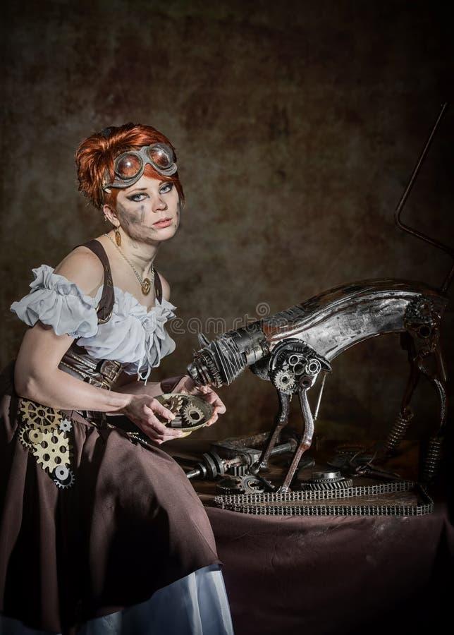 SteamPunk flicka fotografering för bildbyråer
