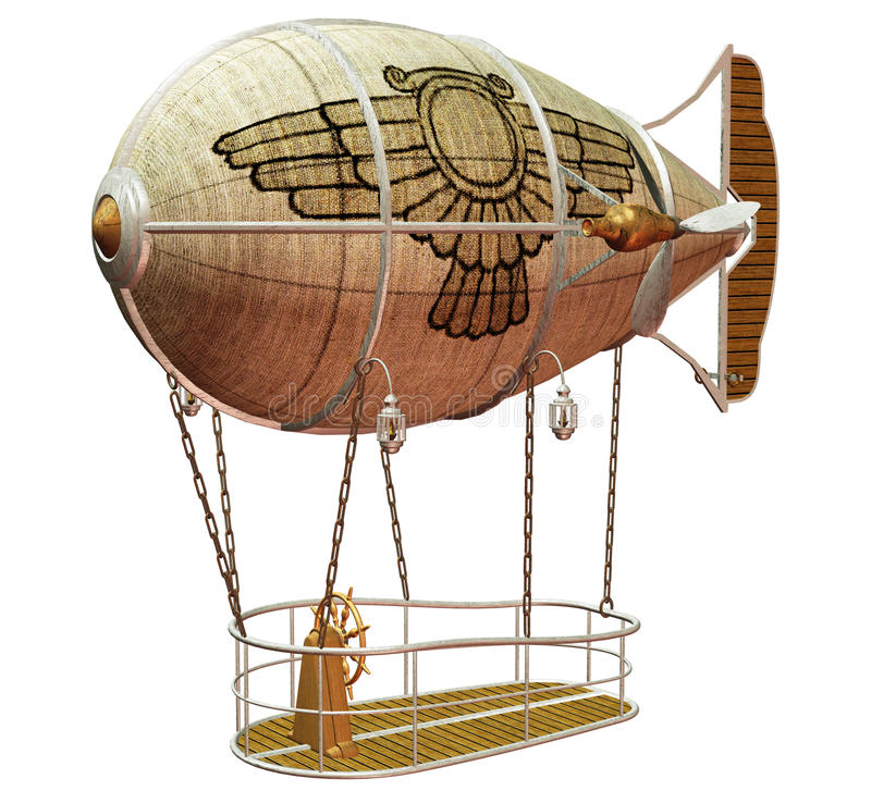 Steampunk flying machine 6 vector illustration